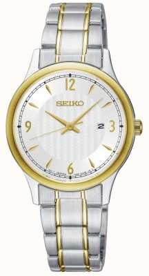 Seiko Womens Classic Pattern White Dial Two Tone Watch SXDG94P1
