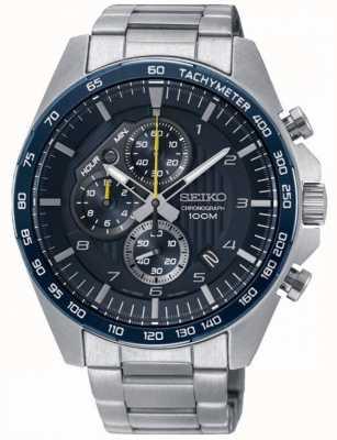 Seiko Mens Motorsport Blue Chronograph Steel Bracelet Watch SSB321P1