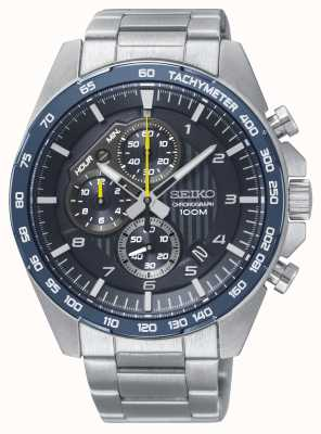 Seiko Mens Motorsport Blue Chronograph Steel Bracelet Watch SSB321P1