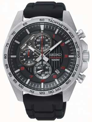 Seiko Mens Motorsport Black Chronograph Rubber Strap Watch SSB325P1