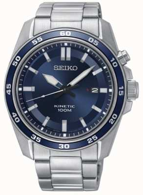 Seiko Mens Kinetic Stainless Steel Watch Blue Dial SKA783P1