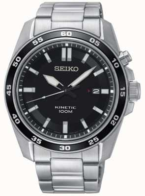 Seiko Mens Kinetic Stainless Steel Watch Black Dial SKA785P1
