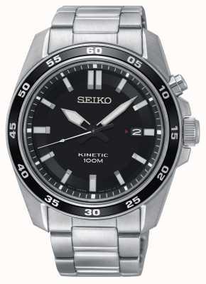 Seiko Mens Kinetic Stainless Steel Watch Black Dial SKA785P1