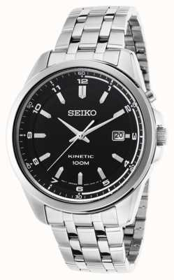 Seiko Mens Kinetic Stainless Steel Bracelet Black Date Dial SKA633P1