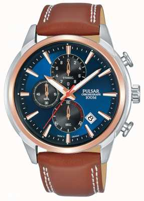 Pulsar Mens Rose Gold Plated Two Tone Chronograph Watch PM3120X1