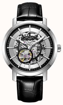 Rotary Mens Greenwich Black Leather Strap Skeleton Watch GS05350/02