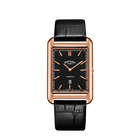 a8af14b0aef0 Rotary Mens Cambridge Rose Gold Square Watch Black Leather Strap ...