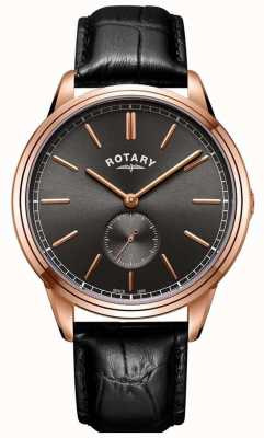 Rotary Mens Cambridge Leather Strap Rose Gold Tone Watch GS05364/20