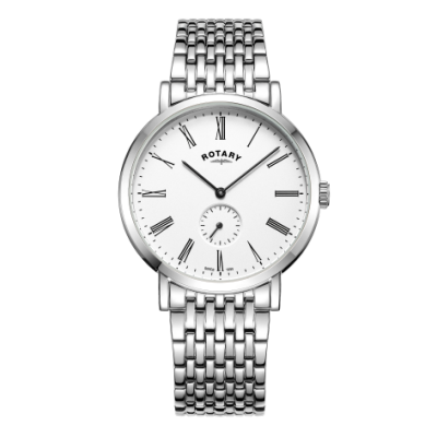 Rotary Mens Windsor Offset Stainless Steel Bracelet Watch GB05310/01