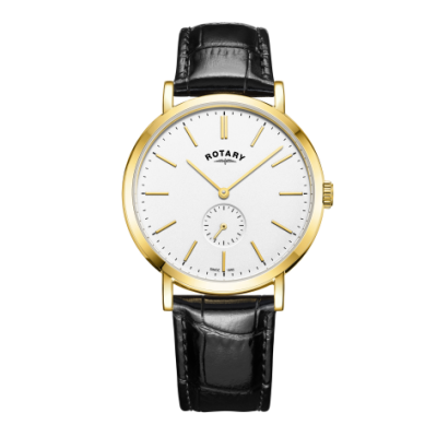 Rotary Mens Windsor Gold Tone Case Leather Strap Watch GS05313/02