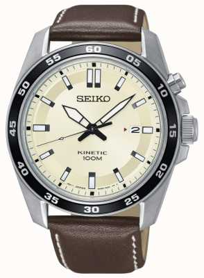Seiko Mens Kinetic Watch Brown Leather Strap Cream Dial SKA787P1