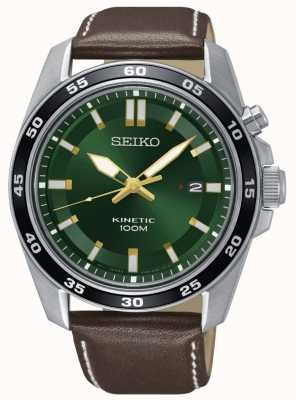 Seiko Mens Kinetic Watch Brown Leather Strap Green Dial SKA791P1
