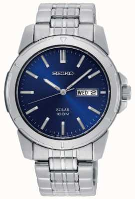 Seiko Mens Solar Watch Stainless Steel Bracelet Blue Dial SNE501P1