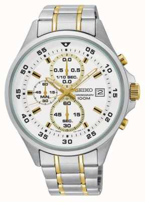 Seiko Mens White & Gold Chronograph Stainless Steel Bracelet Watch SKS629P1