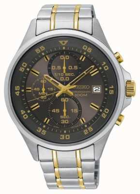 Seiko Mens Grey & Gold Chronograph Stainless Steel Bracelet Watch SKS631P1