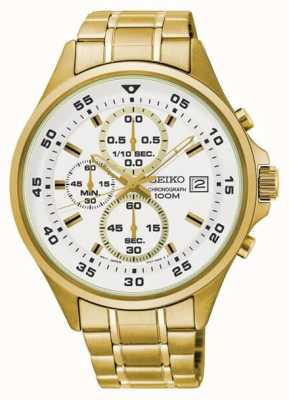 Seiko Mens White & Gold Chronograph Gold Tone Bracelet Watch SKS632P1