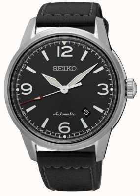 Seiko Mens Presage Automatic Black Strap Black Dial Watch SRPB07J1