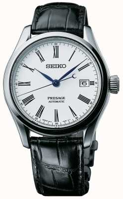 Seiko Presage Mens Automatic White Dial Black Leather Strap SPB047J1