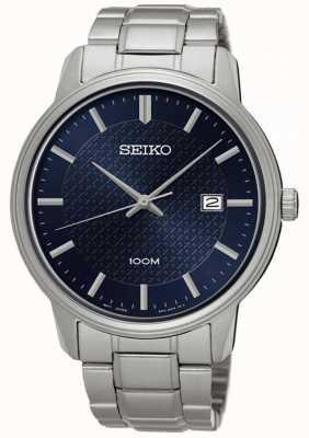Seiko Mens Neo Classic Stainless Steel Bracelet Blue Dial SUR193P1