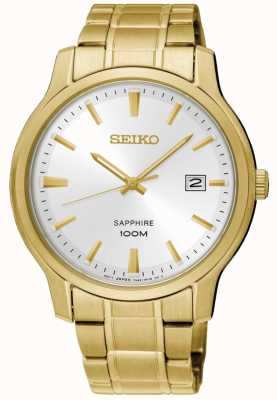 Seiko Mens Neo Classic Gold Tone Steel Bracelet White Dial SGEH70P1