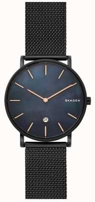 Skagen Mens Hagen Watch Black Steel Mesh Blue Dial SKW6472