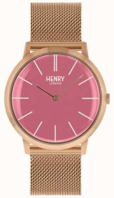 Henry London Iconic Pink Dial Rose Gold Tone Mesh Bracelet HL40-M-0312