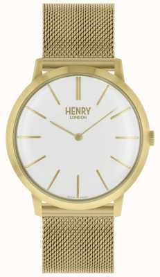Henry London Iconic White Dial Gold Tone Mesh Bracelet HL40-M-0250