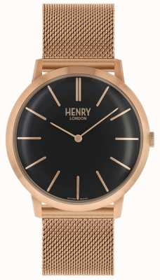 Henry London Iconic Black Dial Rose Gold Tone Mesh Bracelet HL40-M-0254