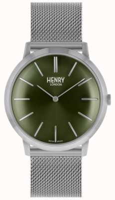 Henry London Iconic Silver Mesh Strap Green Dial HL40-M-0253