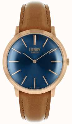 Henry London Iconic Navy Dial Tan Leather Strap Rose Tone Case HL40-S-0244