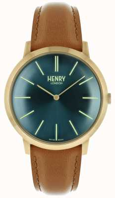 Henry London Iconic Navy Dial Tan Leather Strap Gold Tone Case HL40-S-0274
