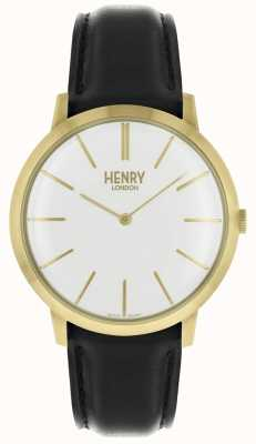 Henry London Iconic White Dial Black Leather Strap Gold Tone Case HL40-S-0238
