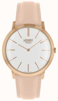 Henry London Iconic White Dial Pink Leather Strap Rose Tone Case HL40-S-0288