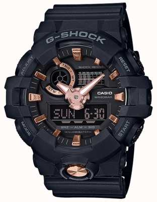 Casio G-Shock Analogue Digital Navy Rubber Rose Gold Watch GA-710B-1A4ER