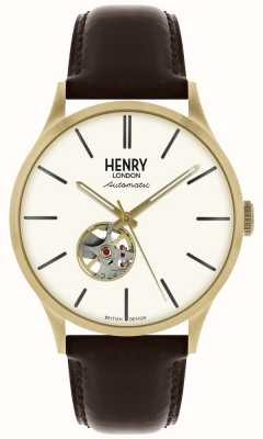 Henry London Heritage Mens Automatic Black Leather Strap White Dial Watch HL42-AS-0280