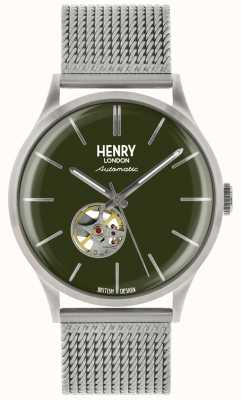 Henry London Heritage Mens Automatic Silver Steel Mesh Green Dial Watch HL42-AM-0283