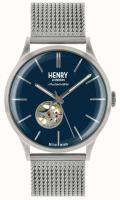 Henry London Heritage Mens Automatic Silver Steel Mesh Blue Dial Watch HL42-AM-0285