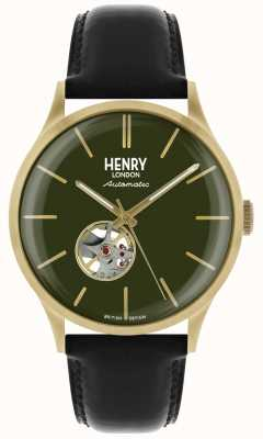 Henry London Heritage Mens Automatic Black Leather Strap Green Dial Watch HL42-AS-0282