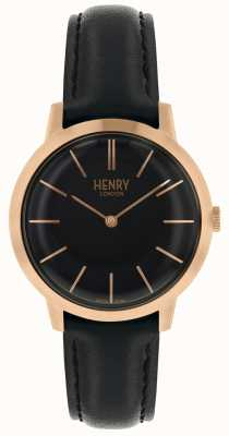 Henry London Iconic Womens Watch Black Dial Black Leather Strap HL34-S-0218