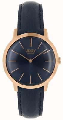 Henry London Iconic Womens Watch Navy Dial Navy Leather Strap HL34-S-0216