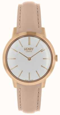Henry London Iconic Womens Watch White Dial Nude Leather Strap HL34-S-0222