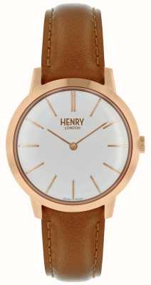 Henry London Iconic Womens Watch White Dial Tan Leather Strap HL34-S-0212
