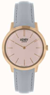 Henry London Iconic Womens Watch Pink Dial Grey Leather Strap HL34-S-0228