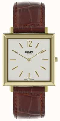 Henry London Heritage Mens Square Watch White Dial Brown Leather Strap HL34-QS-0268