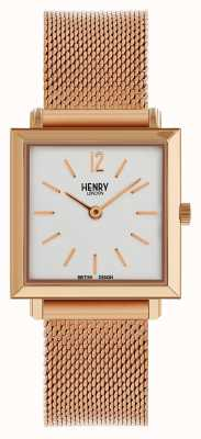 Henry London Heritage Womens Petite Square Watch Rose Gold Mesh HL26-QM-0264