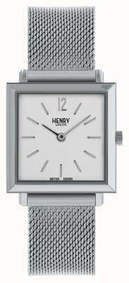 Henry London Heritage Womens Petite Square Watch Silver Mesh HL26-QM-0265