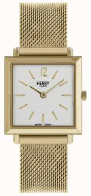 Henry London Heritage Womens Petite Square Watch Gold Mesh HL26-QM-0266