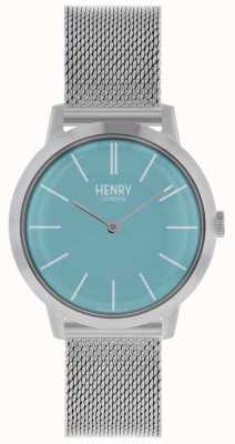 Henry London Iconic Womens Watch Silver Mesh Bracelet Blue Dial HL34-M-0273