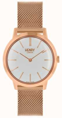 Henry London Iconic Womens Watch Rose Gold Mesh Bracelet White Dial HL34-M-0230