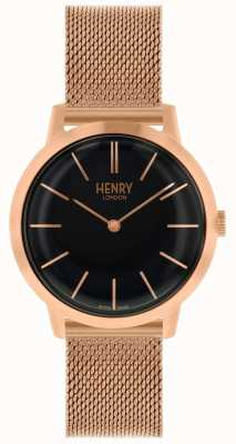 Henry London Iconic Womens Watch Rose Gold Mesh Bracelet Black Dial HL34-M-0234